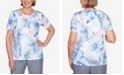 Alfred Dunner Plus Size Tropical Leaves Novelty Neckline Short Sleeve Knit Top