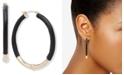 """Lauren Ralph Lauren Gold-Tone Medium Leather Hoop Earrings, 2"""""""