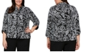 Alex Evenings Plus Size 3/4-Sleeve Printed Zip-Front Jacket