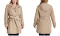 London Fog Plus Size Hooded Belted Water-Resistant Trench Coat, Created for Macy's