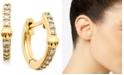 "AVA NADRI Extra-Small Cubic Zirconia & Bead Huggie Hoop Earrings, 0.37"""