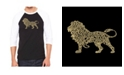 LA Pop Art Lion Men's Raglan Word Art T-shirt