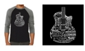 LA Pop Art Languages Guitar Men's Raglan Word Art T-shirt