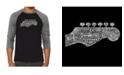 LA Pop Art Guitar Head Men's Raglan Word Art T-shirt