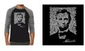 LA Pop Art Abraham Lincoln Gettysburg Address Men's Raglan Word Art T-shirt