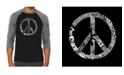 LA Pop Art Peace, Love and Music Men's Raglan Word Art T-shirt