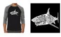 LA Pop Art Species of Shark Men's Raglan Word Art T-shirt