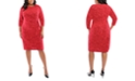 London Times Plus Size Jacquard Side-Tie Dress