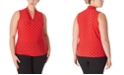 Anne Klein Plus Size Polka-Dot Triple-Pleat Top