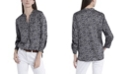 Vince Camuto Women's Ruched Sleeve Spotted Leopard Henley Blouse