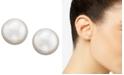 Lauren Ralph Lauren Sterling Silver Plated Glass Pearl Stud Earrings (8mm)