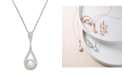 Macy's Cultured Freshwater Pearl (8mm) and Diamond (1/3 ct. t.w.) Pendant Necklace in 14k White Gold