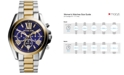 Michael Kors Women's Chronograph Bradshaw Two-Tone Stainless Steel Bracelet Watch 43mm MK5976