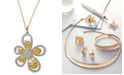 EFFY Collection D'Oro by EFFY Diamond Flower Pendant Necklace (1 ct. t.w.) in 14k White and Yellow Gold