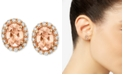 Le Vian Peach Morganite (1 ct. t.w.) and Diamond (1/4 ct. t.w.) Oval Stud Earrings in 14k Rose Gold, Created for Macy's