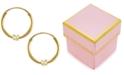 Macy's Children's Cubic Zirconia Accent Endless Hoop Earrings in 14K Yellow Gold (2mm)