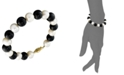 Macy's Cultured Freshwater Pearl (7-1/2-8-1/2mm) and Onyx (8mm) Bracelet in 14k Gold