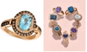 Le Vian Chocolatier® Aquamarine (1-3/8 ct. t.w.) and Diamond (1/2 ct. t.w.) Halo Ring in 14k Rose Gold