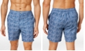 "Calvin Klein Men's Wave-Print Swim Trunks, 9"""