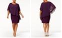 Betsy & Adam Plus Size Chiffon Capelet Sheath Dress
