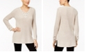 Style & Co Lace-Up Tunic Sweater, Created for Macy's