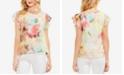 Vince Camuto Floral-Print Flutter-Sleeve Top
