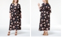 Monteau Trendy Plus Size Printed Belted Maxi Dress