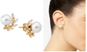 Majorica Gold-Plated Sterling Silver Imitation Pearl and Crystal Earring Jackets