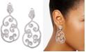 Nina Silver-Tone Cubic Zirconia  Pavé Swirl Drop Earrings