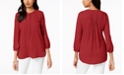 JM Collection Petite Pleated Back Button Blouse, Created For Macy's