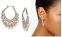 "Marchesa Gold-Tone Crystal & Imitation Pearl 1-2/5"" Filigree Medium Hoop Earrings"