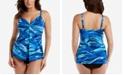 Miraclesuit Breakers Love Printed Faux-Fly-Away Tankini Top & High-Waist Tummy Control Bikini Bottoms