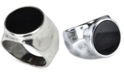 DEGS & SAL Men's Onyx (12-3/4mm) Hammered Ring in Sterling Silver (Also in Stablized Turquoise)