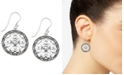 Macy's Crystal & Marcasite Circle Drop Earrings in Fine Silver-Plate