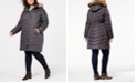 Michael Kors Plus Size Hooded Faux-Fur-Trim Puffer Coat, Created For Macy's