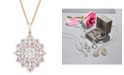 """Wrapped in Love Diamond Flower 18"""" Pendant Necklace (1-1/2 ct. t.w.) in 14k Gold, Created for Macy's"""
