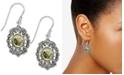 Macy's Marcasite and Paua Shell Filigree Drop Earrings in Fine Silver Plate