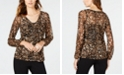 INC International Concepts INC Animal-Print Lace-Up Top, Created for Macy's