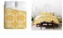 Deny Designs Heather Dutton Plush Paisley Goldenrod Queen Duvet Set