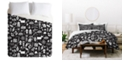 Deny Designs Heather Dutton Peace And Joy Black Twin Duvet Set