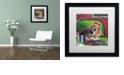 "Trademark Global Jenny Newland 'Poker Dogs 3' Matted Framed Art, 16"" x 16"""