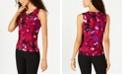 Kasper Floral-Print Pleated Top