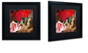 "Trademark Global Color Bakery 'China Red Ii' Matted Framed Art, 16"" x 16"""