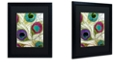 """Trademark Global Color Bakery 'Peacock Feathers I' Matted Framed Art, 16"""" x 20"""""""