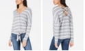 BCX Juniors' Striped Button-Front Dolman-Sleeved Sweater