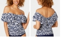 Island Escape Bliss Printed  La Flor Ruffled Off-The-Shoulder Tankini Top, Created for Macy's