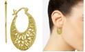 Essentials Openwork Pattern Small Hoop Earrings  s in Fine Silver-Plate