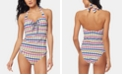 Jessica Simpson Lace-Up Tankini Top & Shirred Bottoms