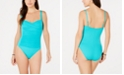 La Blanca Ruched Twist-Front One-Piece Swimsuit