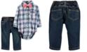 Carter's Baby Boys 3-Pc. Cotton Bow-Tie, Plaid Bodysuit & Jeans Set